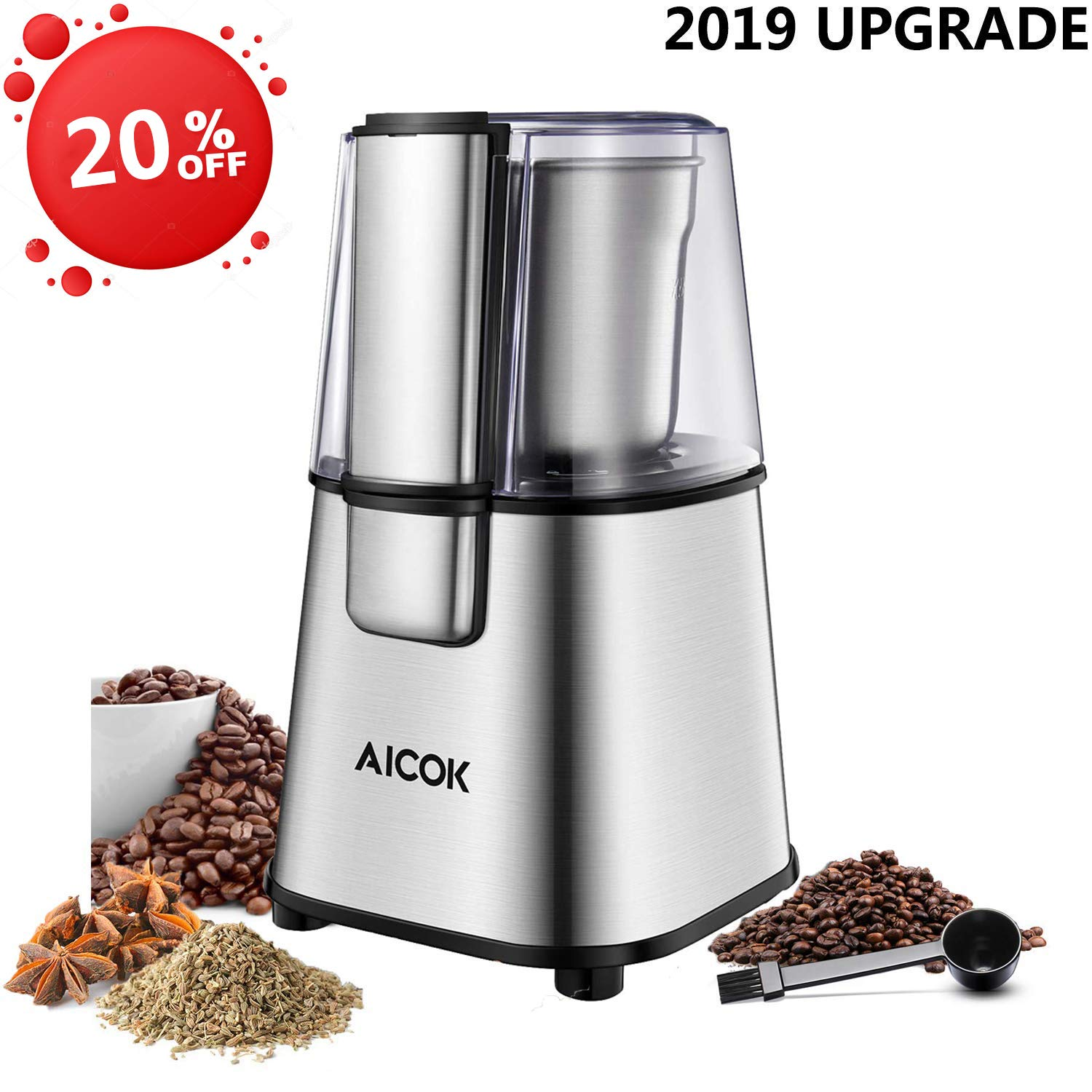 AICOK Coffee Grinder, Electric Coffee and Spice Grinder, 2.5 Ounces Removable Grinding Cup, Stainless Steel Base and Blades, 200W Efficient Motor by ACIOK