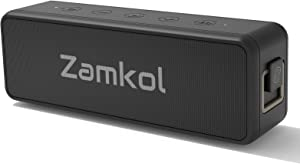 Zamkol Portable Bluetooth Speaker, Wireless Outdoor Speakers with 20W Stereo Sound, 24-Hour Playtime, EQ, IPX7 Waterproof, Wireless Stereo Pairing, for Home Party Picnic