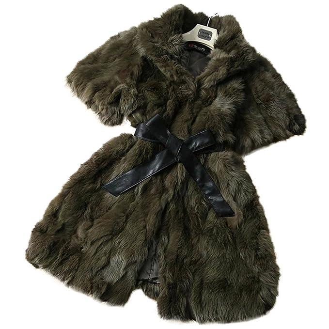 Fur Story 15185 Mujer Largo Real Pelo de Conejo Abrigo Verde Oscuro 42: Amazon.es: Ropa y accesorios