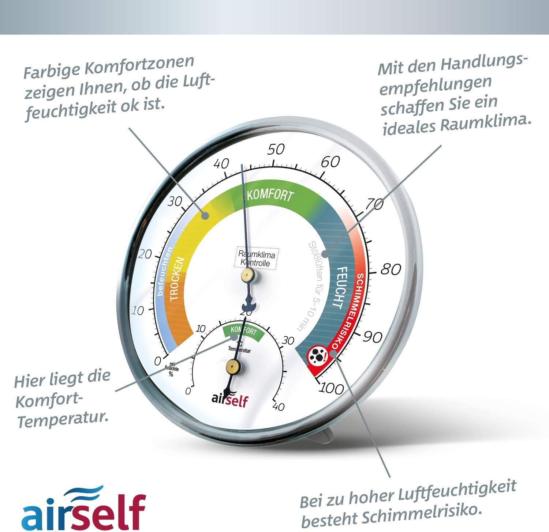airself Thermohygrometer analog fr innen schwarzes Ziffernblatt ...