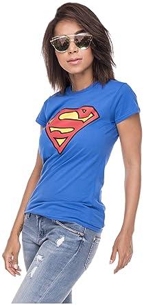 Loomiloo Tshirt Superman Damen S Zeichen Shirt Comic T Shirt