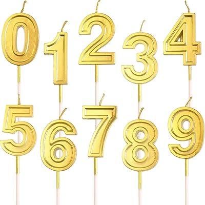 10 Piezas Velas de Pastel de cumpleaños Brillo Dorado Velas de Velas de Cera Número 0-9 Topper de cumpleaños para Adultos Niños Suministros de Fiesta de cumpleaños: Hogar