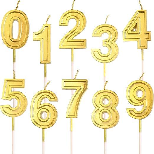 10 Piezas Velas de Pastel de cumpleaños Brillo Dorado Velas de Velas de Cera Número 0-9 Topper de cumpleaños para Adultos Niños Suministros de Fiesta ...