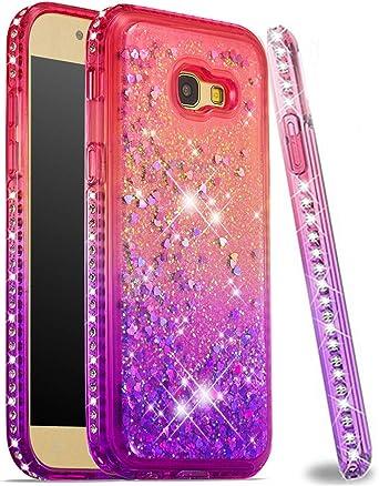 ISADENSER Coque pour Samsung Galaxy A5 2017 avec paillettes dégradées - Série sable mouvant pour filles et femmes - Coque en TPU souple pour Samsung ...