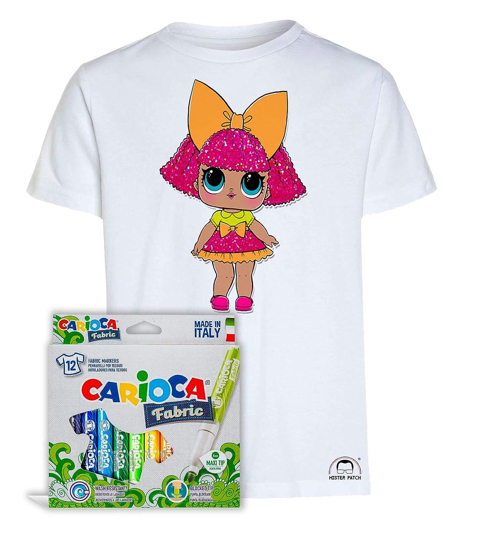 Maglietta t-Shirt da colorare con Colori Inchiostro per Tessuti Mister Patch Idea Regalo per Bambini Bamboline LOL Bambole Surprise Originale educativa