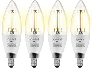 Geeni LUX Edison B11 Filament WiFi LED Smart Bulb, B11 Candelabra, 4W, E12 Base, Dimmable, White Light, Compatible with Amazon Alexa & Google Assistant - No Hub Required- 4 Pack