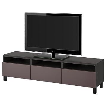 IKEA BESTA   TV Bank Mit Schubladen Schwarzbraun / Valviken Dunkelbraun