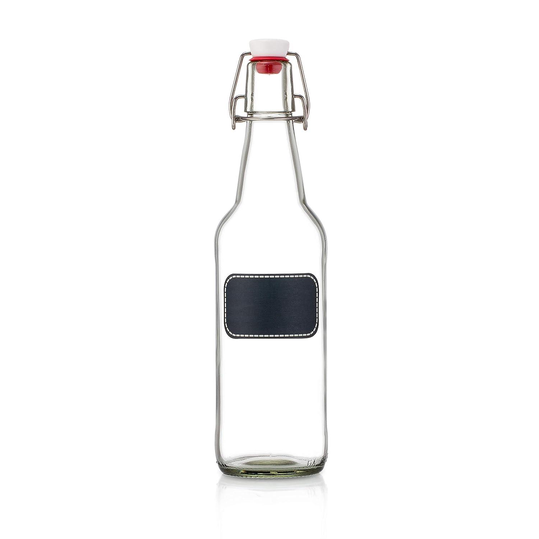 Swing Top Glass Bottles - Flip Top Brewing Bottles For Kombucha, Kefir,  Beer - Clear Color - 16oz Size - Set of 6 - Leak Proof Easy Caps, Bonus