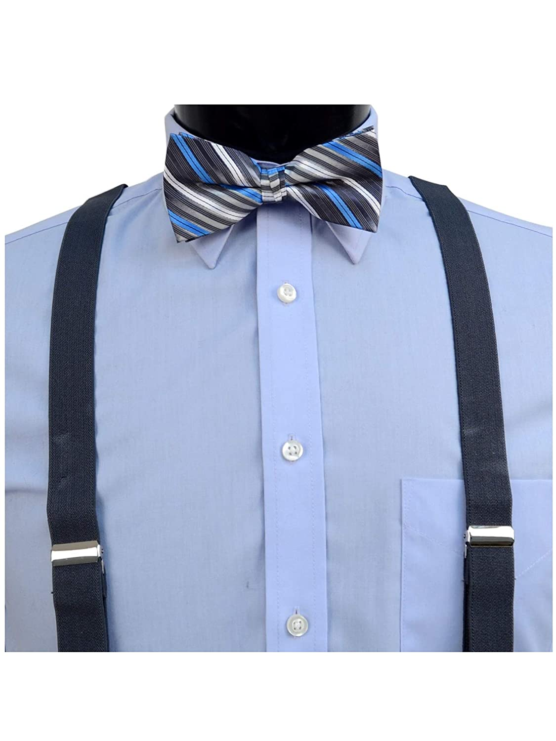 Bow Tie /& Hanky Sets Mens Charcoal 3 PC Clip-on Suspenders