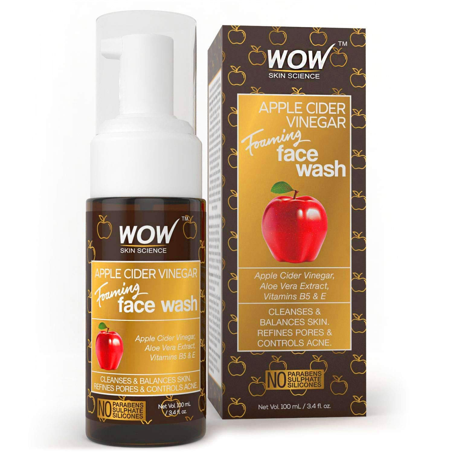 WOW Apple Cider Vinegar Foaming Face Wash Cleanser - Normal, Dry & Oily Skin - Heal, Hydrate For Soft, Clear Skin - Remove Dirt, Oil & Makeup, Reduce Acne Breakouts - Men & Women - All Ages - 100 mL