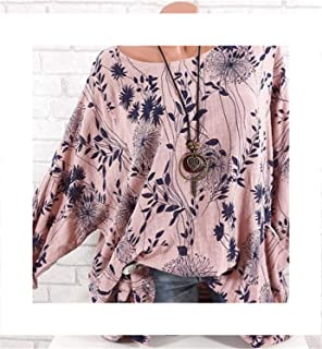 Summer Women Tops Womens Retro Floral Print 3//4 Bell Flare Sleeve Casual Loose Lace Blouse Shirts S-5XL Minisoya