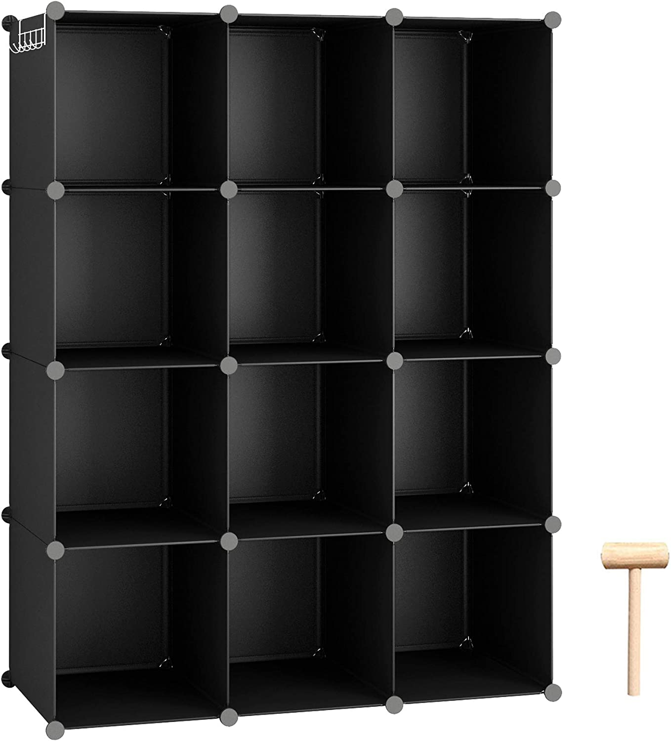"C&AHOME Cube Storage Organizer, 12-Cube Shelves Units, Closet Cabinet, DIY Plastic Modular Book Shelf, Ideal for Bedroom, Living Room, Office, 36.6"" L x 12.4"" W x 48.4"" H Black"