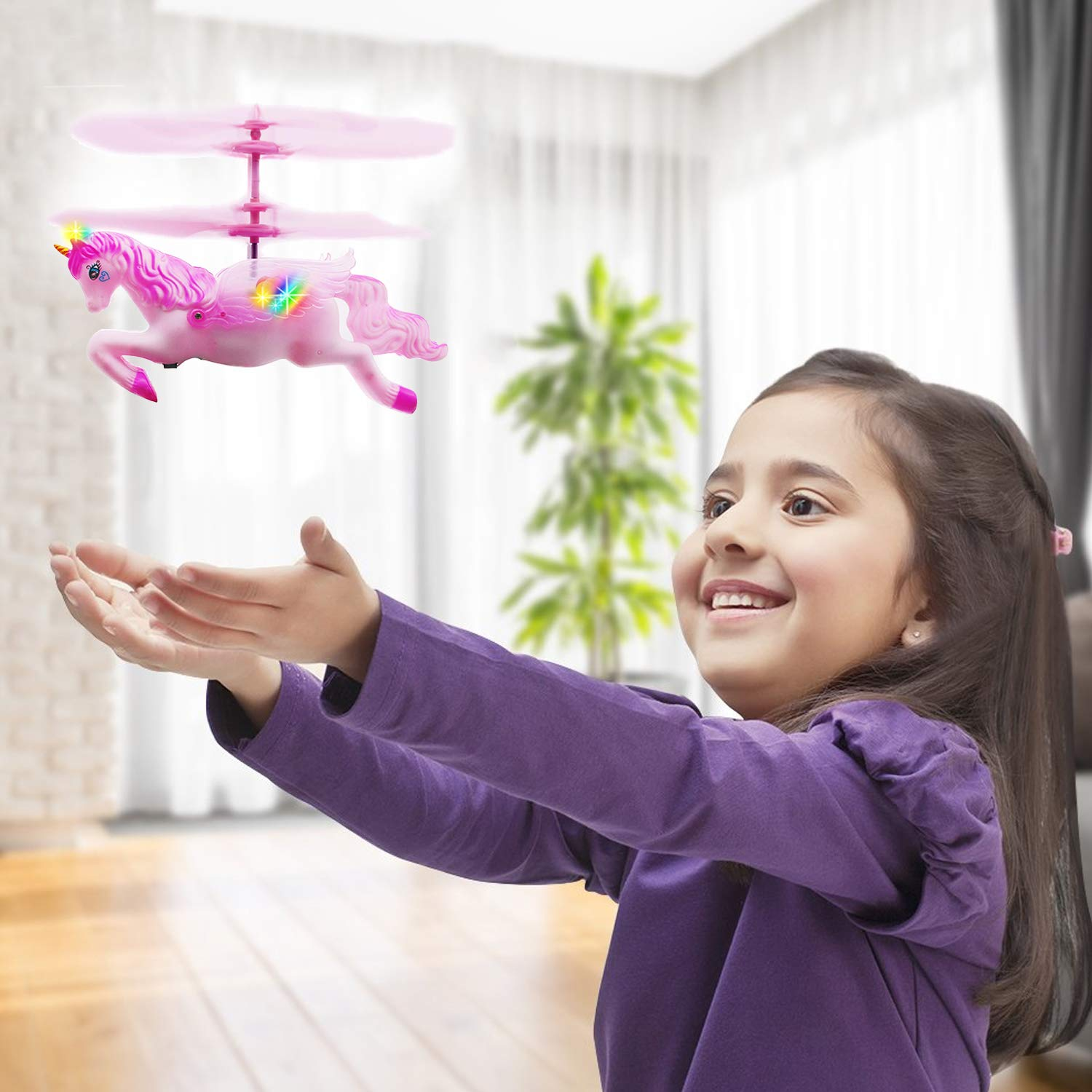 Flying Ball RC Unicorn Toys, Mini RC Flying Helicopter Unicorn Toy Gifts Hand Control Drones for Kids Boys Girls Flying Fairy Unicorn Doll Hovering Aircraft Outdoor Flying Toys Games Birthday Gift by Synmila (Image #7)