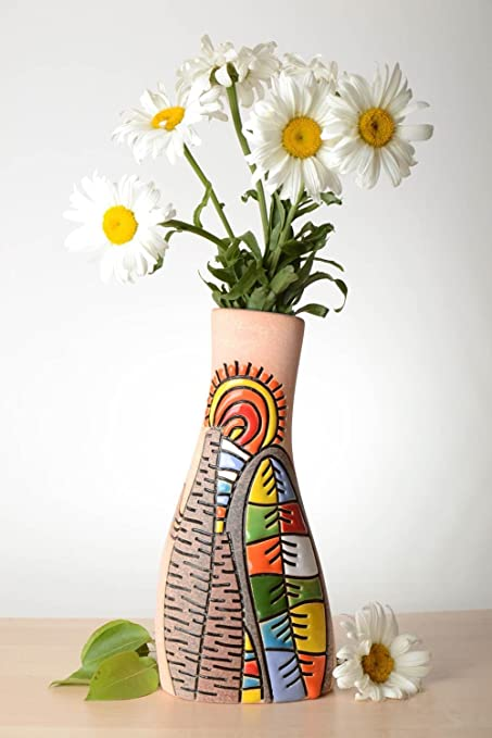 Amazon.com: Beautiful Handmade Ceramic Vase Homemade Clay Vase ... on handmade lamp, handmade porcelain vases, handmade decorative items, handmade flower pins, handmade frame, handmade flower chandelier, handmade baskets, handmade flower jar, handmade flower jewelry, red rose bouquet in vase, handmade flower tea, handmade toys, handmade flower earrings, handmade urns, handmade flower tree, handmade flower wreath, handmade flower box, handmade incense burner, handmade flower pot, handmade flower bouquet,
