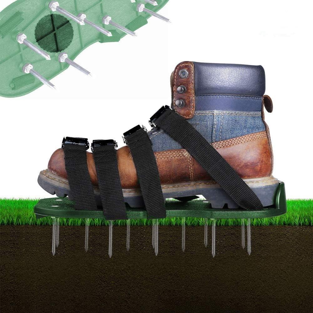 Zapatillas, 4 correas ajustables para césped, suelas de 30 cm de largo, clavos de 5,5 cm de largo, tamaño universal para el césped, se adapta a todos los zapatos o botas, verde