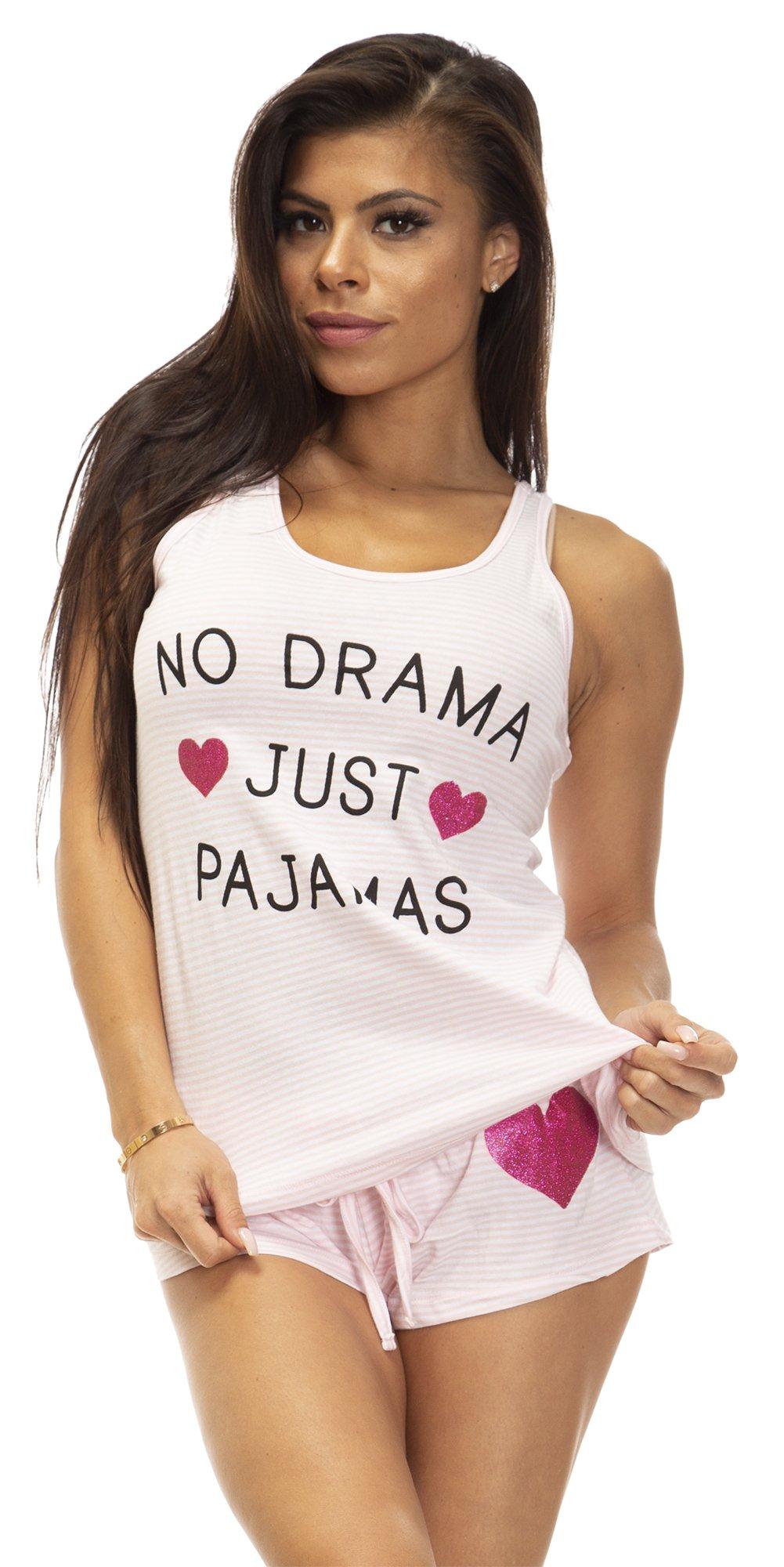 (6795VR) Rampage Womens Womens 100% Cotton No Drama Pajamas Lounge Short Set Size: Large in Pink Stripe (601)