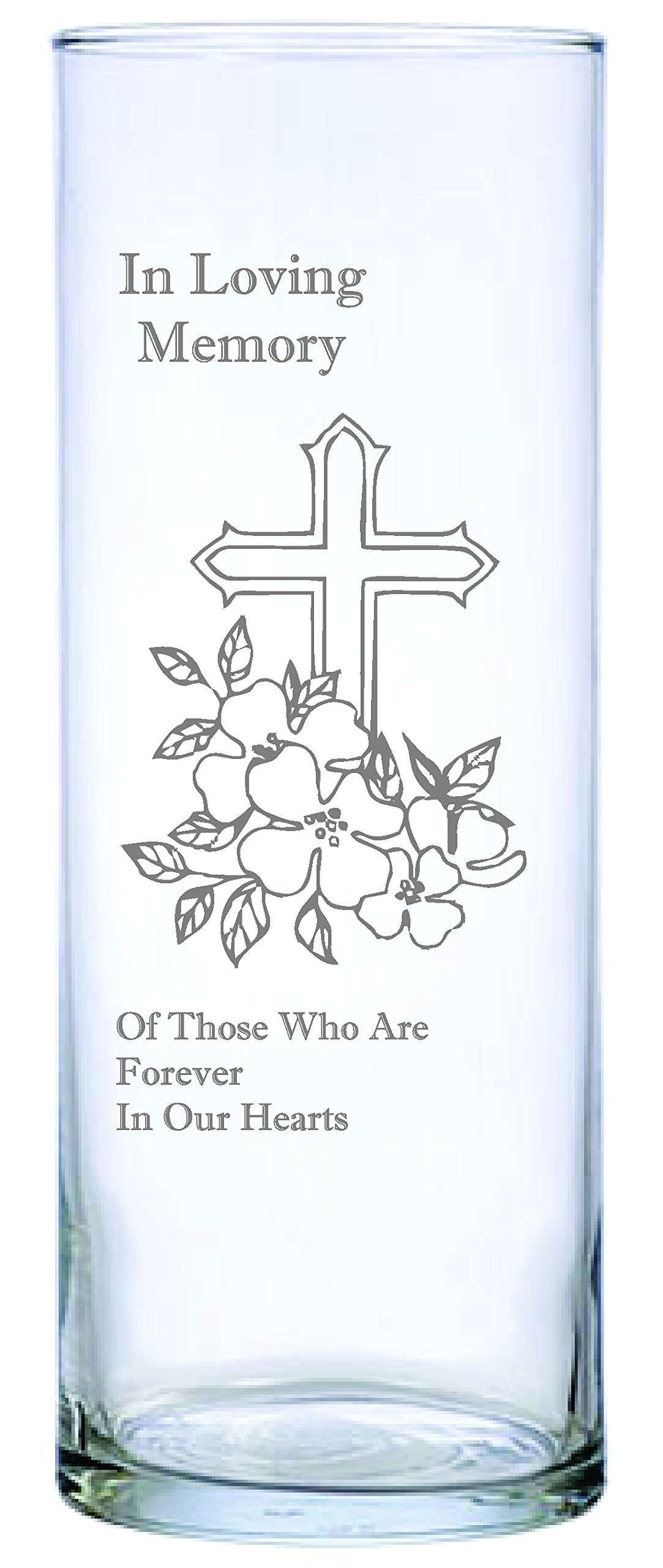 IE Laserware Cross and Flowers Beautifully Laser Etched on This 9'' Memorial Candle. Comes Complete with 3'' Floating Candle, just add Water and Light The Wick!