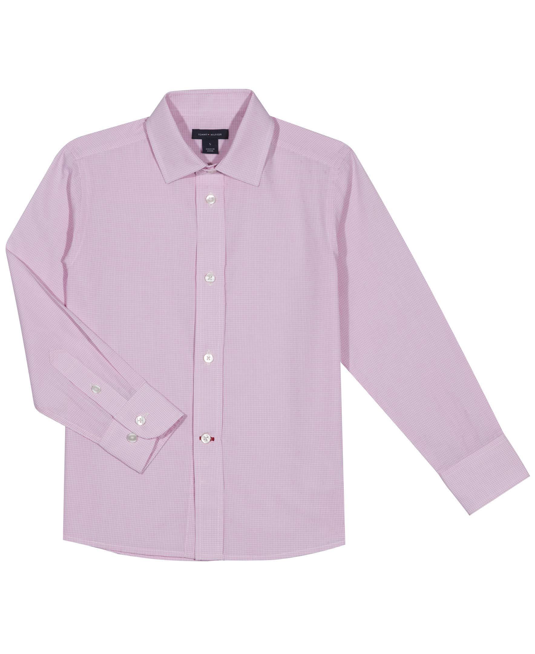 Tommy Hilfiger Boys' Cross Gingham Shirt, Light Pink, 16 by Tommy Hilfiger (Image #1)