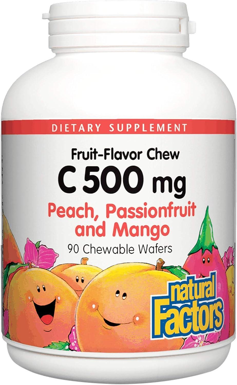 Natural Factors, Vitamin C 500 mg, Kids Chewable, Peach, Passionfruit, Mango, Vegan, Non-GMO, 90 wafers (90 servings)