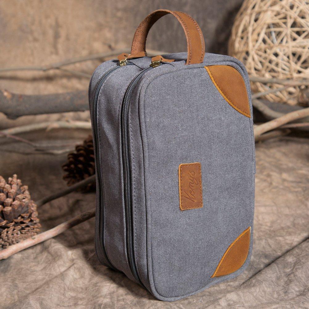 8d2574bab7 Amazon.com   Kemy s Mens Toiletry Bag Leather Canvas Toiletries Travel Bag  Grooming Shaving Bags for Men Dopp Dob Dobb Kits Toilet Hygiene Bathroom Bag  ...