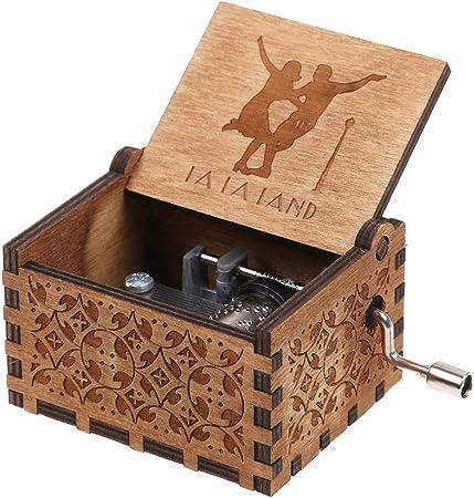 HLZK Caja de música de madera personalizable, hecha a mano con ...