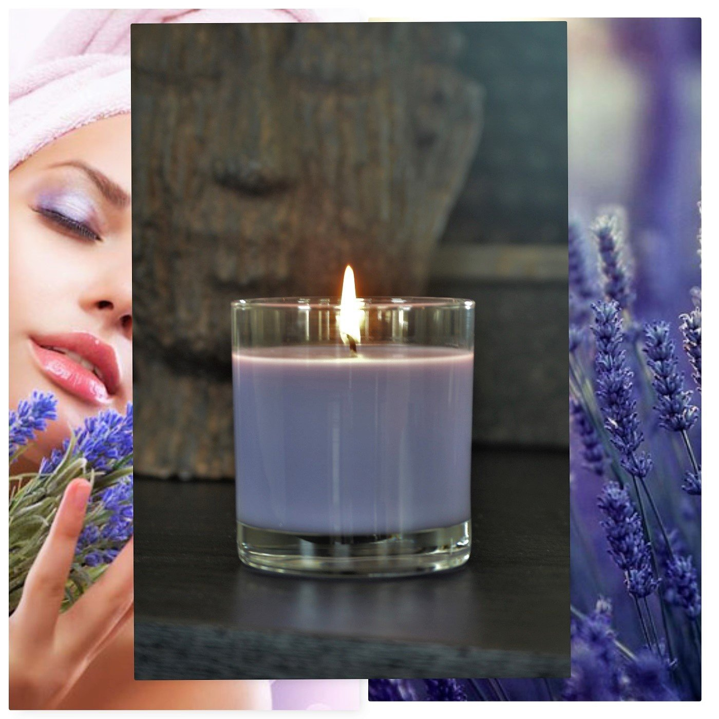 Manu Home Calm Lavender Scented Aromatherapy Candle ~ Made Aromatherapy Oils for Relaxation ~Natural Wax~ Packed in a Beautiful Gift Box ~ 7.5 oz