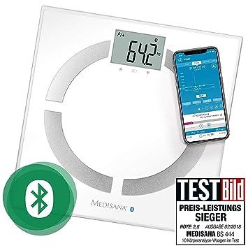 Medisana BS 444 connect báscula analítica digital de 180 kg, báscula personal para medir la grasa corporal, el agua corporal, la masa muscular, el ...