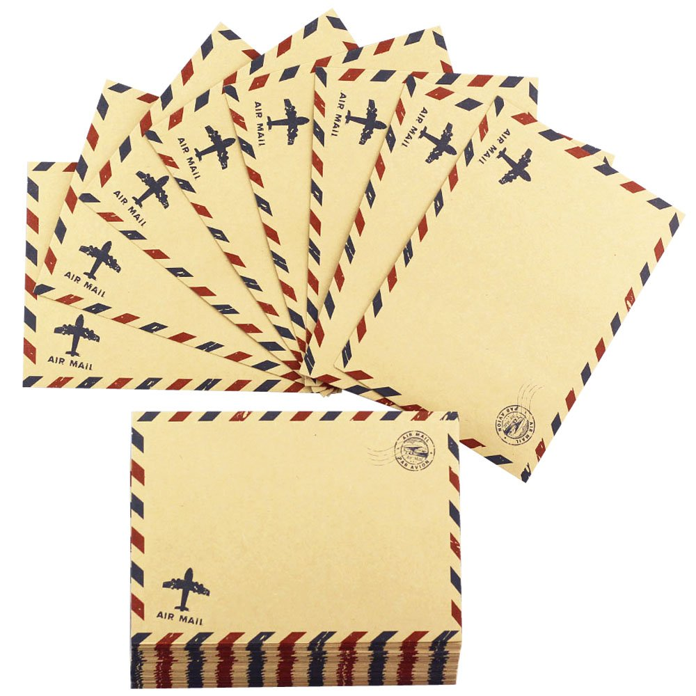 Bolbove Set of 50 Classic AirMail Vintage Style Kraft Paper Postcard Letter Envelopes Invitations (Brown) by Bolbove (Image #2)