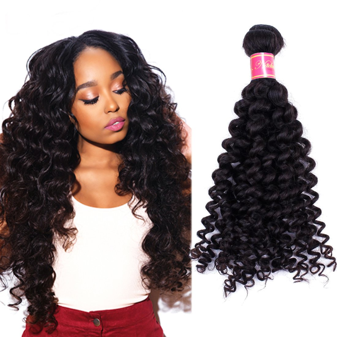 Nadula 6a Remy Virgin Brazilian Deep Wave Human Hair Extensions Pack of 3 Unprocessed Deep Wave Weave Natural Color Mixed Length 16inch 18inch 20inch by Nadula (Image #4)