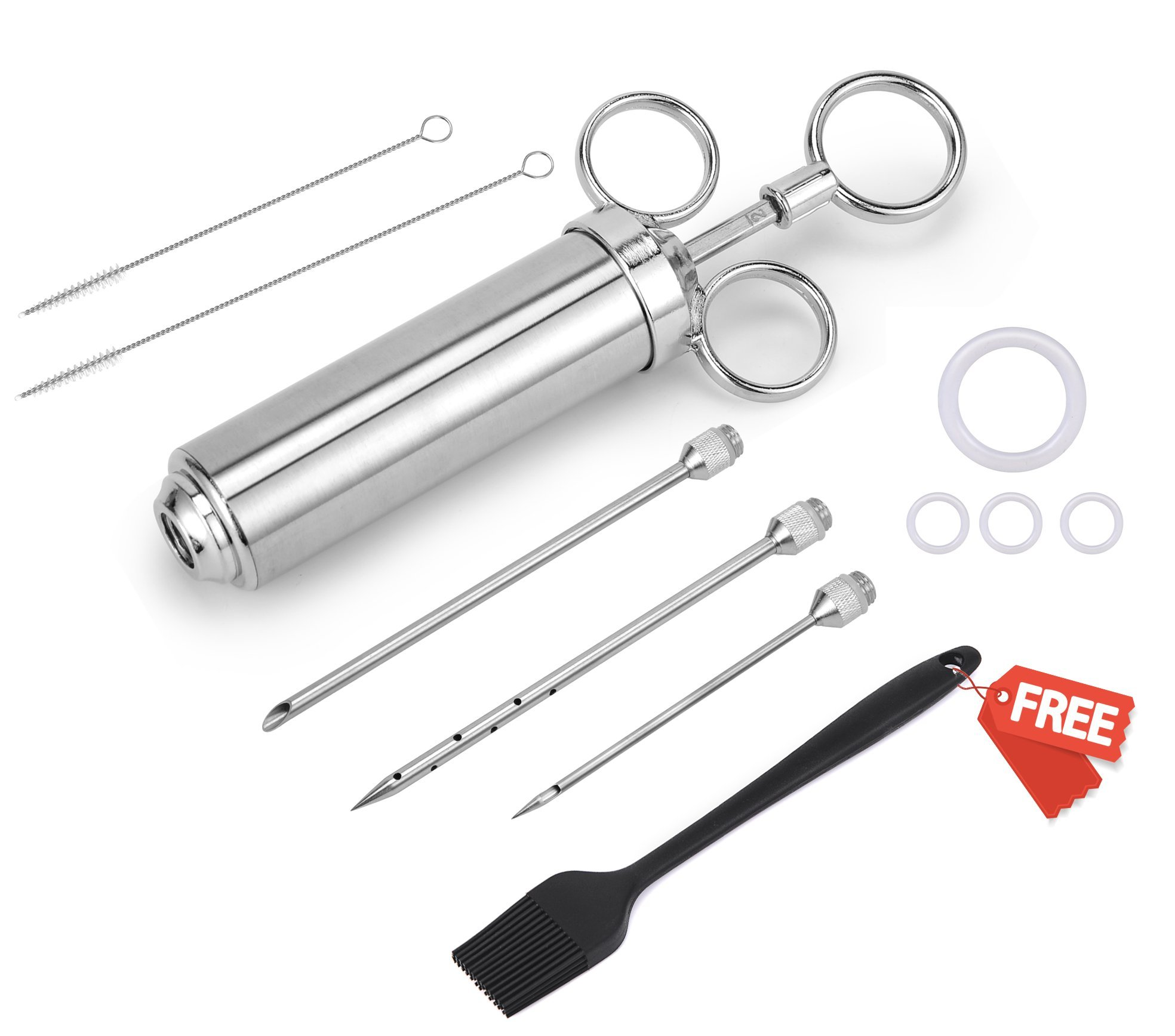 Meat Injector Syringe 304 Stainless Steel,XZSUN 2-oz Injector Syringe Kitwith 3 Needles, 2 Cleaning Brushes,1 Basting Brush and 4 Silicone O-rings