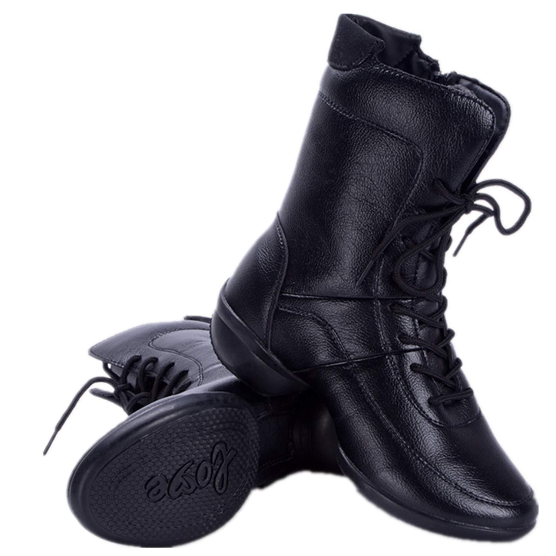 Shufang-schuhe High Top Dance Stiefel mit Fleecefutter seitlichem aus Reißverschluss aus seitlichem echtem Leder mit weichen Außensohlen für Frauen (Farbe   Rot, Größe   41 EU) 635b5f