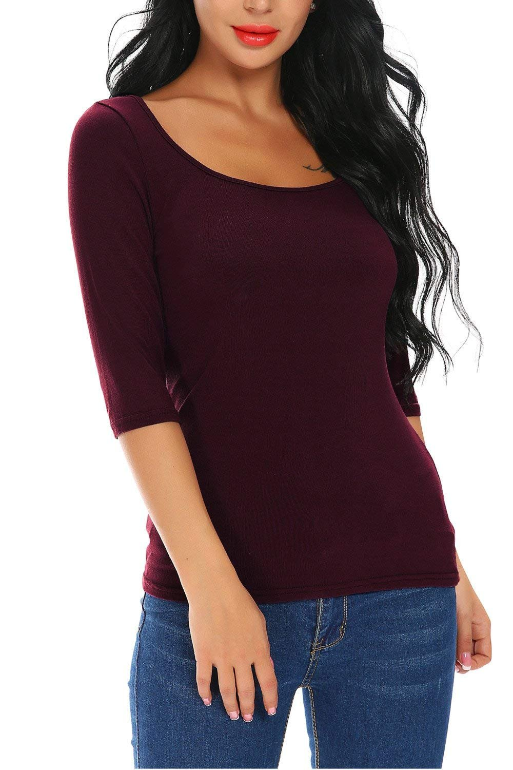 FISOUL Womens 3/4 Sleeve Tops Square Neck Slim Fit Basic Cotton Tee Shirts (Wine Red M) by FISOUL (Image #1)