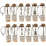 Magideal 12Pcs Transparent Mini Glass Jars with Cork Stopper and Inside Punk Pendants