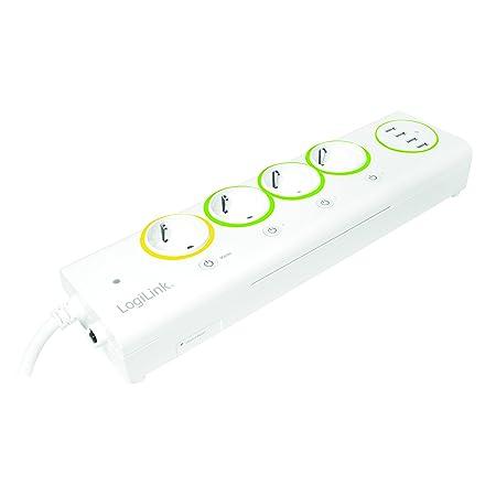 LogiLink PA0130 LogiSmart Master/Slave Steckdosenleiste mit 4X USB, Strommessung und Schalter 3680 W, 230 V, weiß