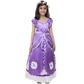 Samsara Couture Baby Girls Purple Satin Birthday Sofia Princess Dress Girls' Dresses & Jumpsuits at amazon