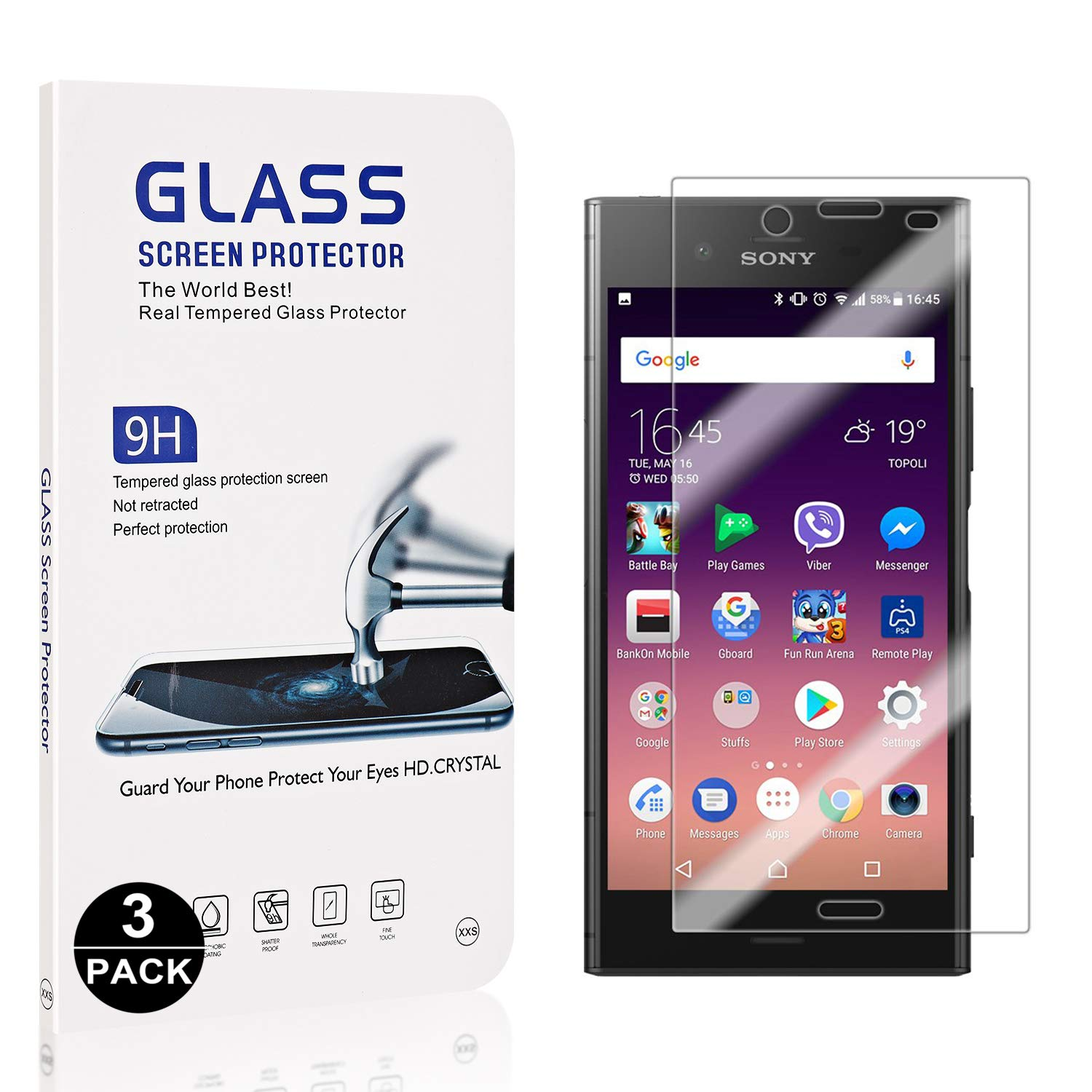 9H Hardness Screen Protector Film for Sony Xperia XZ1 Anti Scratches 3 Pack Bear Village Sony Xperia XZ1 Tempered Glass Screen Protector