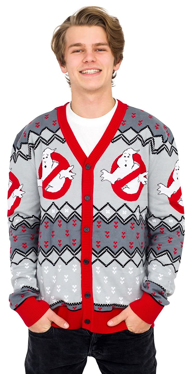 Mighty Fine Ghostbusters Logo Ugly Christmas Cardigan Sweater