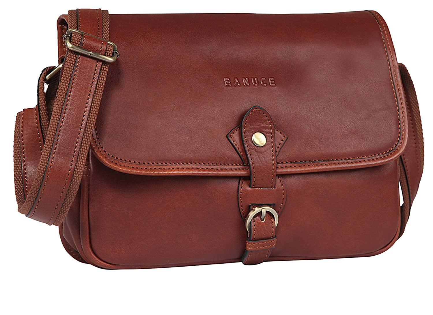 85f0088143db Banuce Vintage Full Grains Italian Leather Small Messenger Bag for Women Shoulder  Handbag Cross Body Satchel Purse  Handbags  Amazon.com