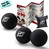 RitFit palline per massaggio per il rilassamento miofasciale, terapia punti di innesto, nodi muscolari e yoga-terapia. Palla singola per massaggio., Black/Black