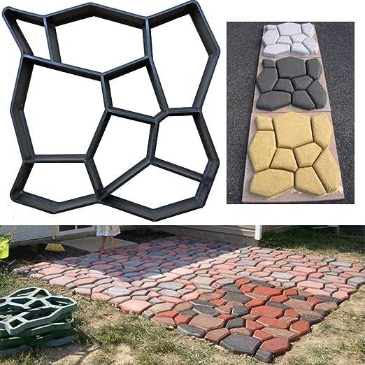 LEEDY Molde de plástico para crear losas de hormigón para el suelo o pavimento, para crear caminos en un jardín, reutilizable y duradero, negro: Amazon.es: Bricolaje y herramientas