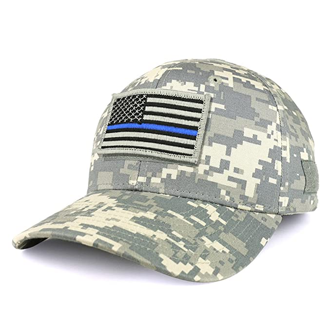 d727ec340 Armycrew USA Thin Blue Line Flag Tactical Patch Structured Operator  Baseball Cap