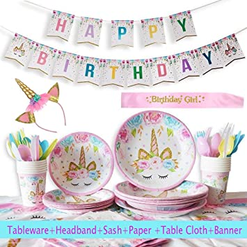 Sweet Baby Co Balloon Photo Backdrop Pink, Teal, Purple Utensils Cups Headband Cake Topper Unicorn Party Supplies Set And Birthday Decorations For Girls With Plates Table Cover Napkins