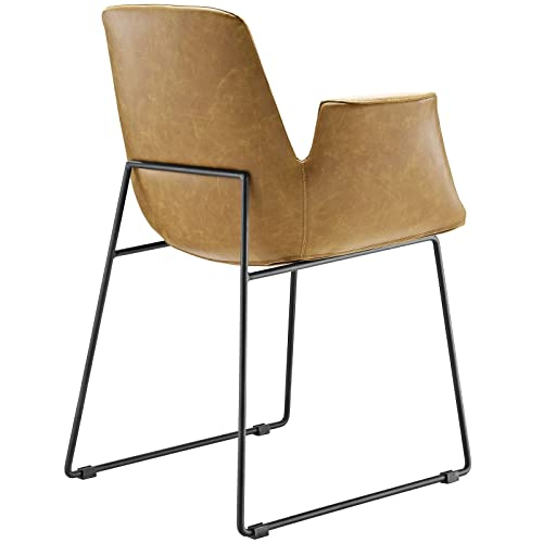 Modway Aloft Faux Leather Modern Farmhouse Kitchen and Dining Room Chair in Tan