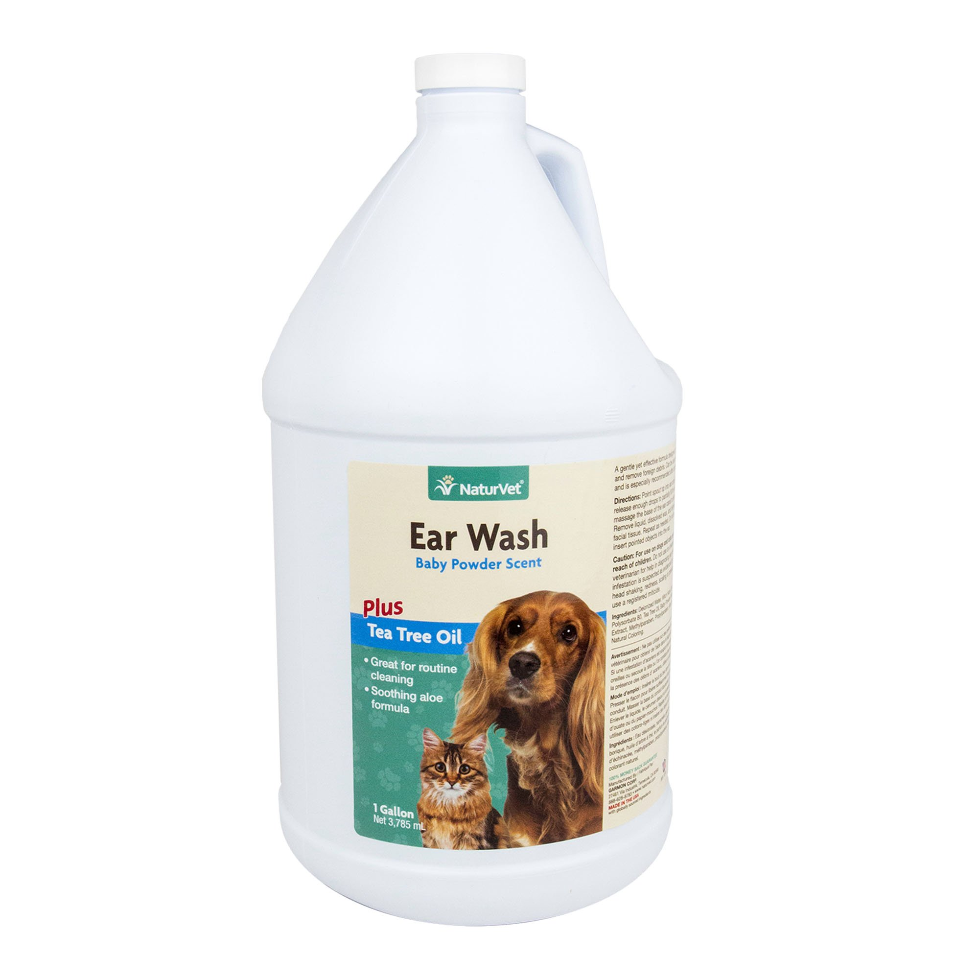 NaturVet Ear Wash Plus Tea Tree Oil for Dogs and Cats, 1 gal Liquid, Made in USA