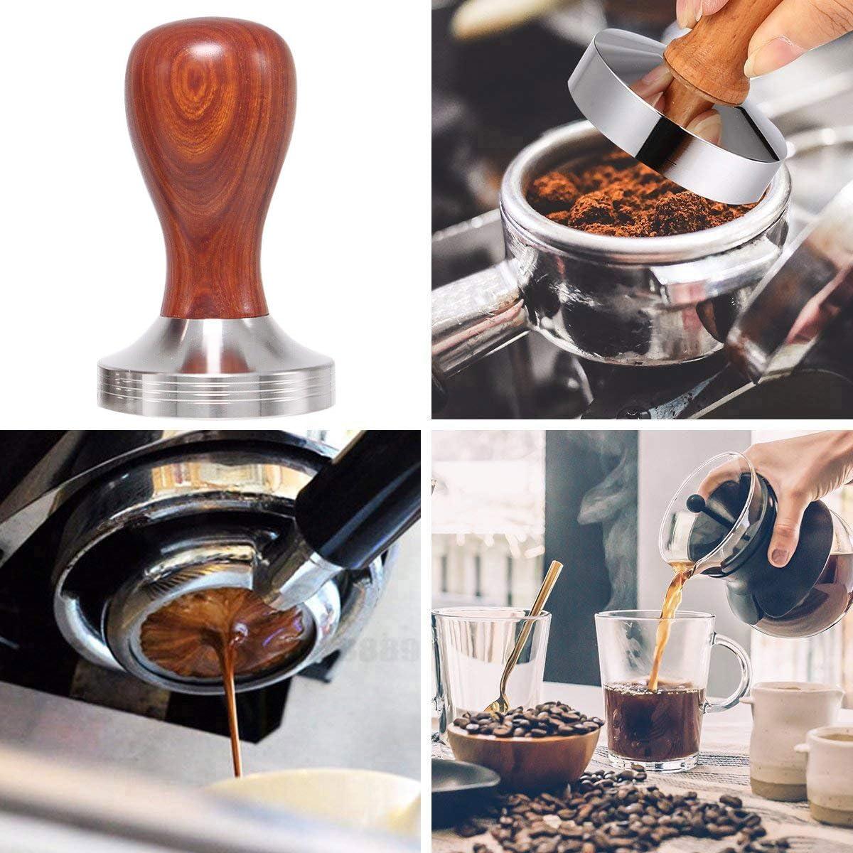Espresso-Tamper // robuste Kaffeebohnenpresse Gewinde: 49 // 51 // 58 mm Barista-Werkzeug 49 mm Kaffeetamper aus Edelstahl mit Holzgriff