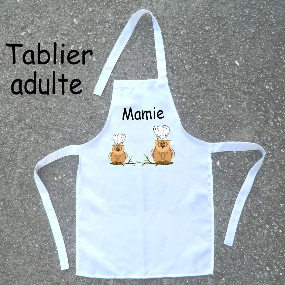 Texti-Cadeaux-Tablier cuisine adulte Chouette à personnaliser Exemple: Mamie, Maman, Odette