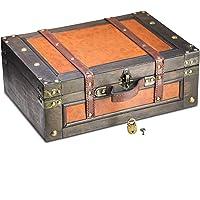 Brynnberg ca. 39x27x14cm Boîte de Rangement Coffre au Trésor Cadenas - Boîte en Bois - trésor Poitrine