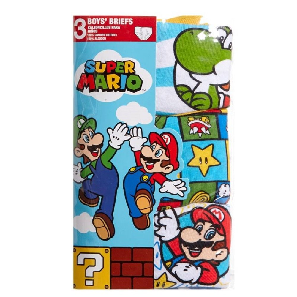Handcraft Mario 3-Pack Boys Briefs Luigi Yoshi Size 4 6