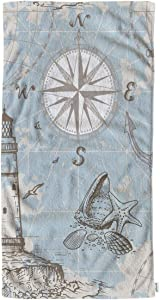 oFloral World Sea Map with Compass Hand Towels Cotton Washcloths,Lighthouse Anchor and Seashells Comfortable Super-Absorbent Soft Towels for Bathroom Beach Kitchen Spa Gym Yoga Face Towel 15X30 Inch