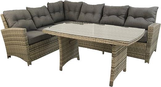 Edenjardi Conjunto sofás de Exterior esquinero 2+3, Aluminio y rattán sintético Color Gris, 5 plazas: Amazon.es: Jardín